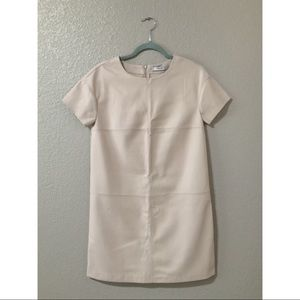 Beige/ Cream Coated Leather Mango Dress
